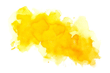abstract watercolor background.splash brush color yellow on paper.