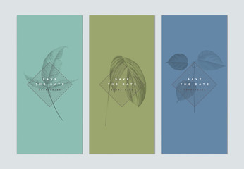 Set of botanical brochure cover template design, leaves in monotone color on cyan, green and blue, vintage style