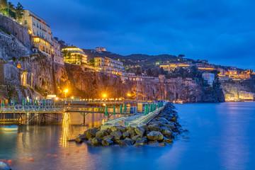 The cliffs of Sorrento on the Italian Amalfi Coast at night