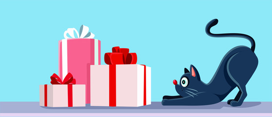 Cat Looking at Christmas Presents Vector Banner