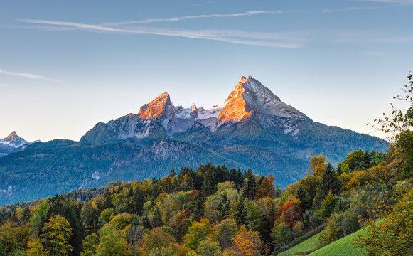 The first sunlight hits Mount Watzmann in the Bavarian Alps