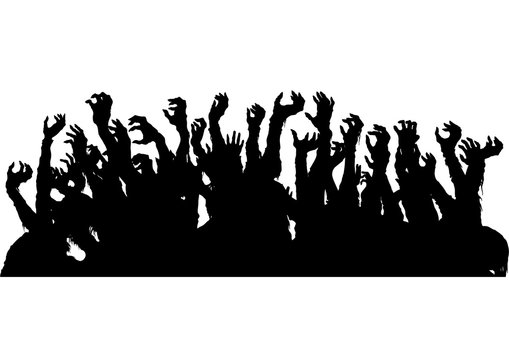 Zombie hands silhouette/ A sinister group of zombie extending hands like a crowd on a gig