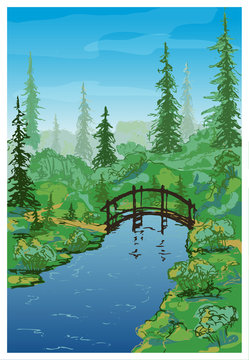 Vector forest landscape with a wooden bridge over a stream