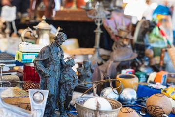 Bronze statuette on antique flea market in Barcelona Spain
