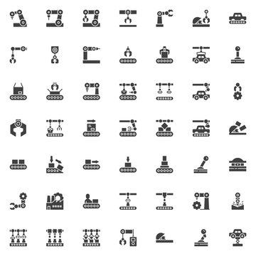 Robotic arm vector icons set, modern solid symbol collection, filled style pictogram pack. Signs, logo illustration. Set includes icons as Manufacturing automation technology, robot conveyor belt