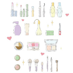 Color illustration of hand-drawn touch of makeup items.