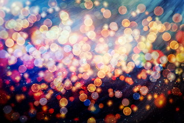 Festive background with natural bokeh and bright golden lights. Vintage Magic background with...