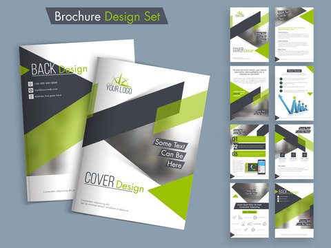 Professional business brochure, template or flyer set.