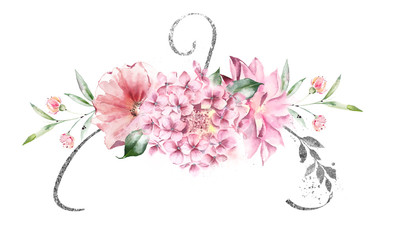 Elegant composition of watercolor flowers and a clothes hanger silver. Logo design.