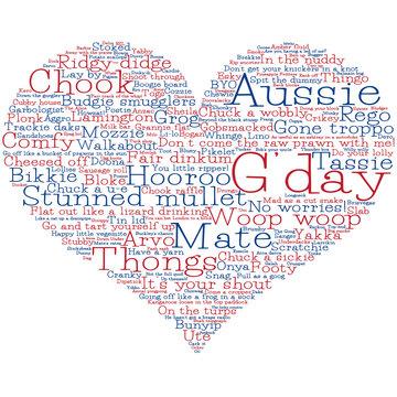 Heart made from Australian slang words in vector format.