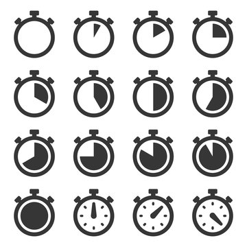 Stopwatch Icons Set on White Background. Vector