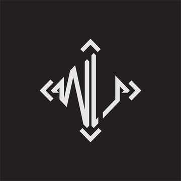WU Logo Abstrac letter Monogram with Arrow in every side isolated