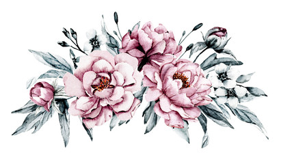 Dusty pink flowers peonies watercolor, floral clip art. Bouquet perfectly for printing design on invitations, cards, wall art and other. Isolated on white background. Hand painting.