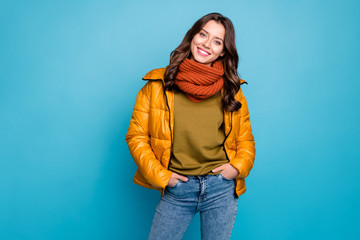 Photo of amazing millennial lady easy-going person holding hands pockets wear modern stylish autumn windbreaker jeans scarf isolated blue color background Wall mural