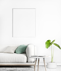 Stylish modern interior with mock up poster frame , white sofa, green plant, white decoration, Ready to use, Template, trendy home decor.