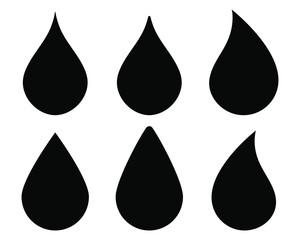 Water drop shape icon symbol set. Flat style outline. Vector illustration image. Plumbing logo. Isolated on white background.