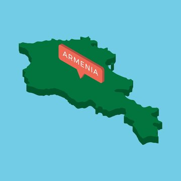green isometric map of armenia country with pointer on blue background. realistic 3d vector concept map easy to edit and customize. eps 10