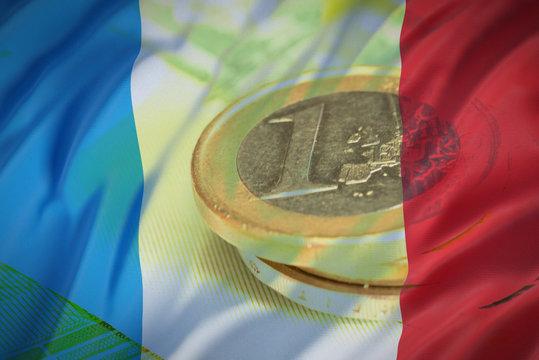 Flagge von Frankreich und Euro Münzen