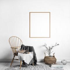 Mock up poster frame in Scandinavian style, single wooden frame, 3D render, 3D illustration