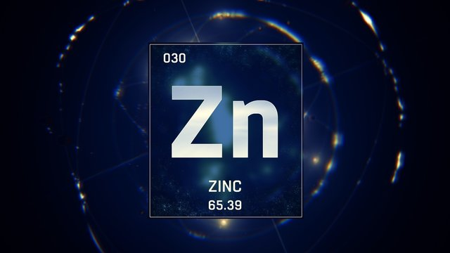 3D illustration of Zinc as Element 30 of the Periodic Table. Blue illuminated atom design background with orbiting electrons. Design shows name, atomic weight and element number