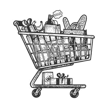 Shopping cart with products sketch engraving vector illustration. T-shirt apparel print design. Scratch board style imitation. Black and white hand drawn image.