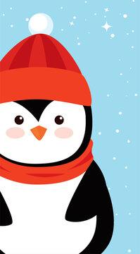 merry christmas penguin animal character design