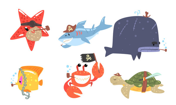 Set of sea animals in pirate costumes. Vector illustration.