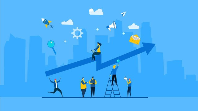 Website or landing page of a group of people characters are thinking over an idea. prepare a business project start up with Tiny People Character Concept Vector Illustration, Suitable For web landing