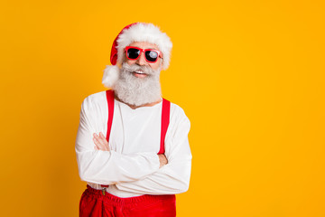 2020 christmas celebration. Funny funky santa claus hipster in red hat cross hands enjoy x-mas...