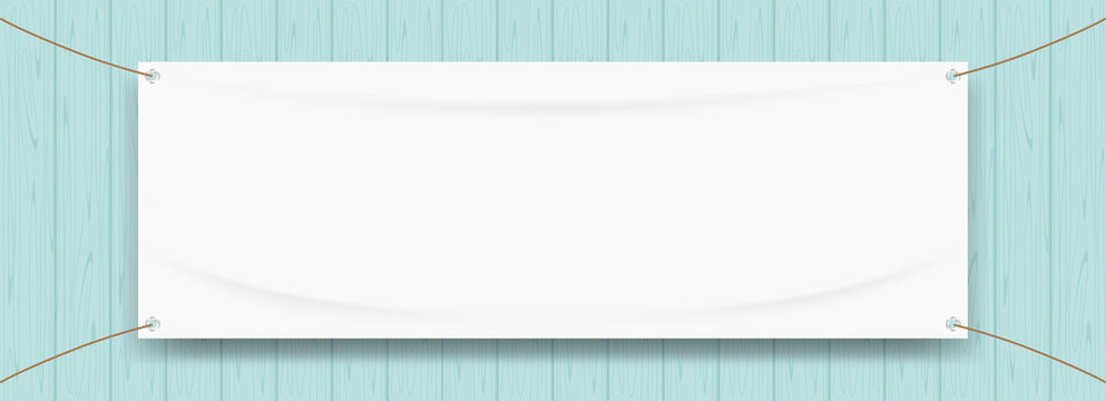 vinyl banner blank white isolated on wood blue pastel color, white mock up textile fabric empty for banner advertising stand hanging, indoor outdoor fabric mesh vinyl backdrop for presentation frame