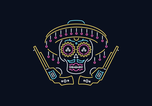 Day of the dead cowboy vector skull graphic design in neon style for any use