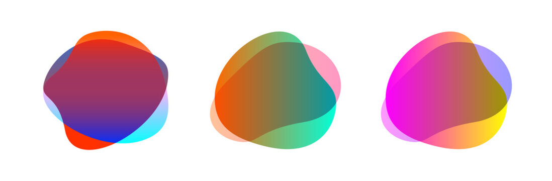 colorful blob shape free from set for background, blob flat geometric simple, liquid stain brush flat blob for label ad copy space, fluid spot template for graphic, simple banner colored gradient wave
