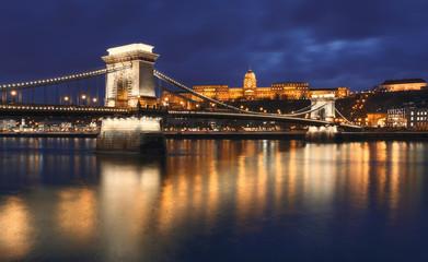 Royal Palace and the Chain Bridge - Budapest, Hungary
