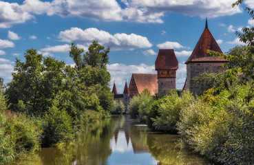 Medieval wall and river Wornitz - Dinkelsbuhl, Germany