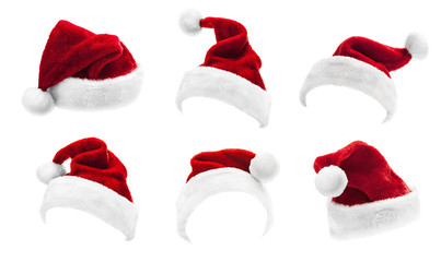 Set of Red Santa Claus Hats Isolated Fotobehang