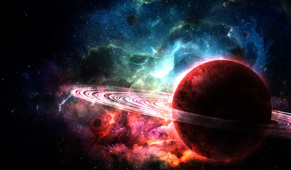 red planet from space and bright color nebula in the night sky, abstract space illustration
