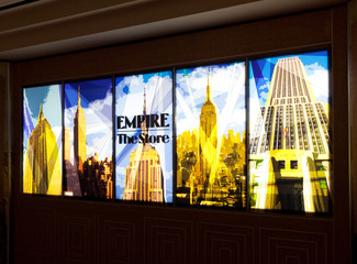 Illuminated signs of the Store in the Empire State Building