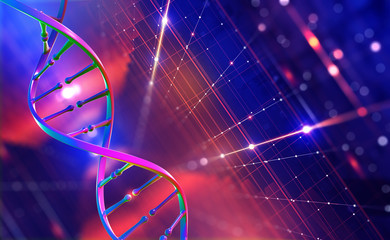 DNA helix. Hi Tech technology in field of genetic engineering. Digital nanostructure. 3D illustration on a futuristic background