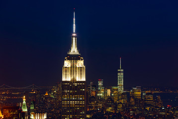 Empire State Building and Manhattan Cityscape by night