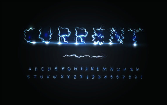 urrent power letters and numbers set. Blue lightning strike, stormy weather style, electricity alphabet. Vector typography design