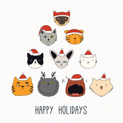 Hand drawn card, banner with cute different cats faces in Santa Claus hats, text Happy holidays. Vector illustration. Line drawing. Isolated objects. Design concept for Christmas print, invite.