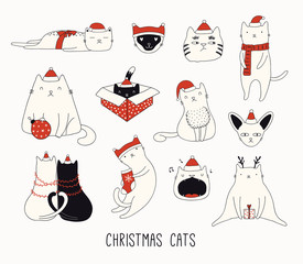 Poster Illustrations Collection of cute funny doodles of different cats in Santa Claus hats. Isolated objects on white background. Hand drawn vector illustration. Line drawing. Design concept for Christmas card invite.