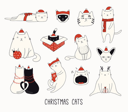 Collection of cute funny doodles of different cats in Santa Claus hats. Isolated objects on white background. Hand drawn vector illustration. Line drawing. Design concept for Christmas card invite.