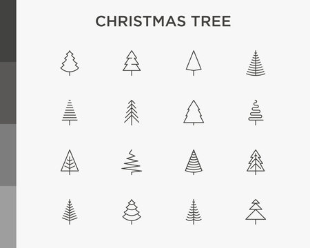 Christmas tree in different shapes. Minimalistic simple thin line icons set. Vector illustration for greeting card, Christmas and New Year decoration.