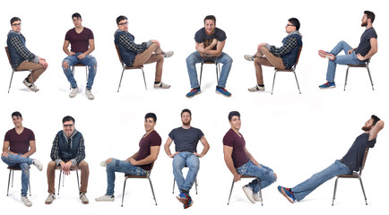men sitting in various ways in a chair Wall mural