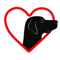I love my dog. Heart, vector illustration.