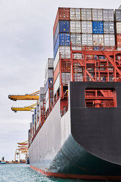 Container cargo ship in Maritime port  and Container Harbor. Transportation industry and shipping logistics. Export and import bussines