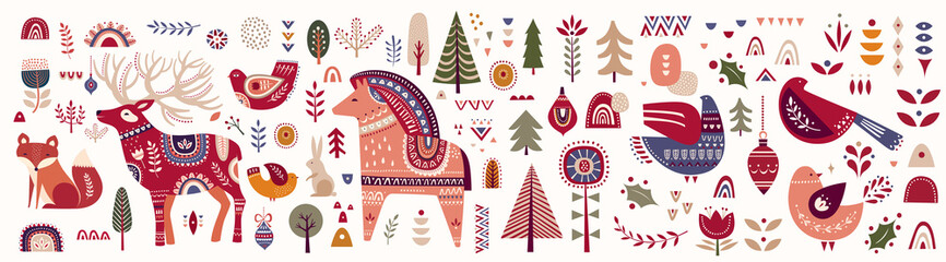Fotomurales - Christmas decorative banner with little horse, christmas deer, fox and birds