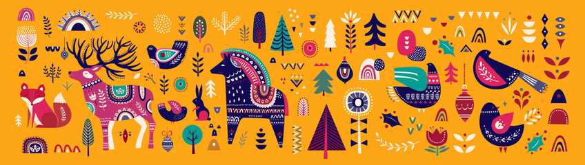 Fotomurales - Christmas decorative banner with little horse, christmas deer, fox and birds on yellow background