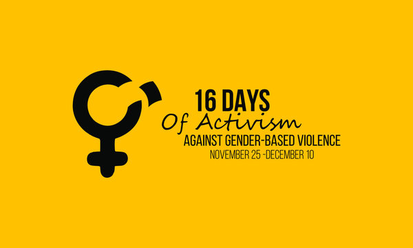 Vector illustration on the theme of Activism against gender based violence from 25th November to 10th December.